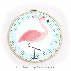 Cadre décoratif « Collection TAMBOUR A BRODER – Flamand Rose »