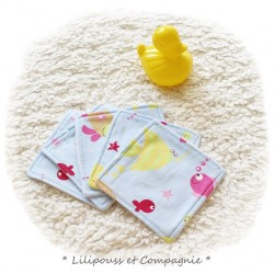 Lingettes Lavables/ Démaquillage – Lot de 5  « Collection SOUS L'OCEAN»