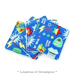 Lingettes Lavables/ Démaquillage – Lot de 5  « Collection SUPER-HEROS »